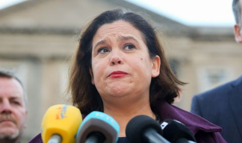 SOUTHERN REACTION: Sinn Féin deputy leader Mary Lou McDonald on the plinth of Leinster House speaking to media following Martin McGuinness's resignation as deputy first minister. Photograph: Gareth Chaney Collins