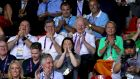 Team Ireland's chef de mission for Rio 2016 Kevin Kilty, current interim president of the Olympic Council of Ireland William O'Brien and then OCI president Pat Hickey sitting together at the Baku European Games in 2015. Photograph: Ryan Byrne/Inpho