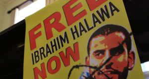 Poster from a press conference held by Lynn Boylan of Sinn Féin last August calling for the release of Ibrahim Halawa from jail in Egypt. Sinn Féin's housing spokesman Eoin Ó Broin was one of the TDs who visited Mr Halawa on Tuesday. File photograph: Nick Bradshaw