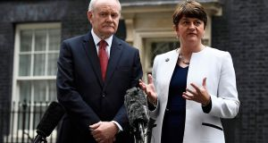Martin McGuinness and Arlene Foster outside Number 10, Downing Street, last October. Photograph: Dylan Martinez/Reuters