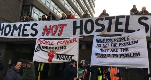Protesters outside Apollo house on Poolbeg Street, Dublin. Photograph: Elaine Edwards/The Irish Times