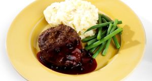 Venison pairs beautifully with mashed potato and a rich, onion gravy