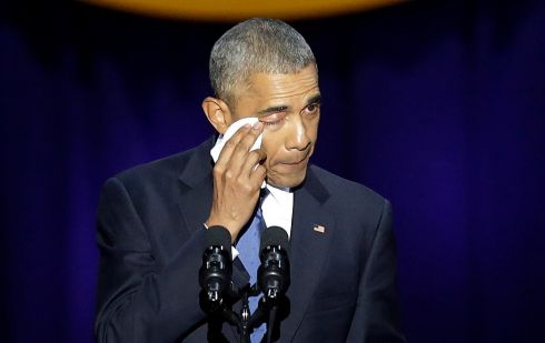 OBAMA OUT: US president Barack Obama cries as he speaks during his farewell address in Chicago, Illinois. Photograph: Joshua Lott/AFP/Getty Images