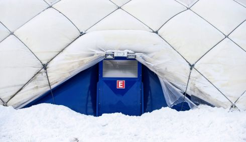 MUNICH: An air-inflated tent built to provide shelter for some 300 refugees in Neufahrn near Munich, Germany. The shelter was never used as the numbers of asylum seekers in German had significantly dropped in 2016 compared with 2015. Photograph: Lukas Barth/EPA