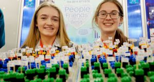 Kate Cronin and Laura Cotter from Colaiste Muire, Crosshaven, Cork,  at this year's BT Young Scientist and Technology Exhibition. Photograph: Alan Betson