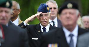 Defence forces veterans stand for the national anthem at the the State ceremony to commeorate the centenary of the Battle of the Somme in The National War Memorial Gardens in Islandbridge, Dublin, last July. File photograph: Aidan Crawley
