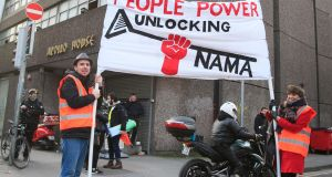 Protesters at Apollo House, Dublin, after a High Court ruling on the occupation. Photograph: Gareth Chaney/Collins