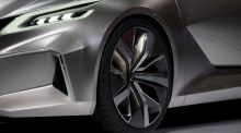 The wheel of the new Nissan Vmotion 2.0 concept vehicle. Photograph: Andrew Harrer/Bloomberg