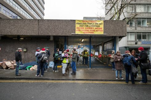 Apollo House scene this Thursday morning. Photograph: Brenda Fitzsimons / The Irish Times