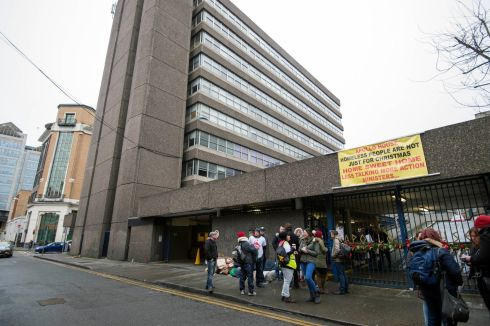 Apollo House scene this morning as residents and volunteers moved out. Photograph: Brenda Fitzsimons / The Irish Times
