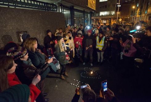 The scene at Apollo House on Wednesday night where a protest regarding the homeless situation was taking place. Photograph: Dave Meehan/The Irish Times