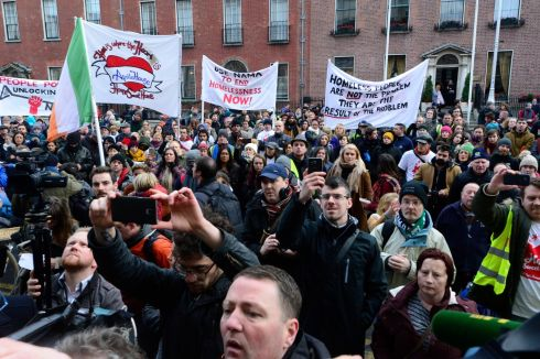 The crowd  during the march to the Department of Finance by supporters and residents of  Apollo House .  Photograph: Cyril Byrne / The Irish Times