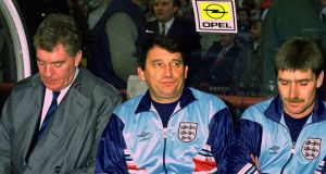 Graham Taylor with assistant coaches Lawrie McMenemy and Steve Harrison during his time as England manager. Photo: Reuters