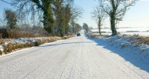 Countryside roads in rural Ireland covered in snow which is a rare enough occasion. Photograph:iStock