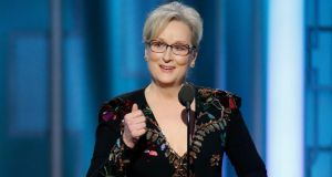 "Meryl Streep accepts her Golden Globe award, ""deluded into thinking that holding another shiny award gave her the right to lambast the choice of 63 million ordinary voters."" Photograph: Paul Drinkwater/NBC via AP"