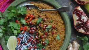 Red lentil dhal with pomegranate arils. Photograph: Lilly Higgins
