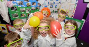 Primary school pupils at the RDS Primary Science Fair in Dublin. Photograph: Alan Betson/The Irish Times