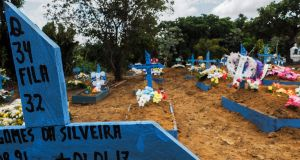 The graves at Nossa Senhora Aparecida Cemetery of the inmates killed in the recent riots in prisons in Manaus, Amazonas state, Brazil. Photograph: Raphael Alves/AFP/Getty Images