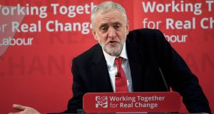 "British Labour  leader Jeremy Corbyn, described by one of his party MPs  as being ""like the accelerator on a bus that's going over a cliff"". Photograph:Toby Melville/Reuters"