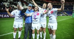 Montpellier head coach Jake White celebrates winning last year's  Challenge Cup: he will be replaced by Scotland coach Vern Cotter. Photograph: Dan Sheridan/Inpho
