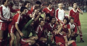Martin O'Neill and his Nottingham Forest teammates celebrate winning the European Cup with their 1-0 victory over SV Hamburg at the Bernabeu Stadium, Madrid, in 1980. Photograph: Getty Images