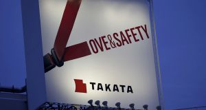 A billboard advertisement for Takata in Tokyo: it has recalled about 100 million defective air bags linked to at least 16 deaths worldwide, including 11 in the US