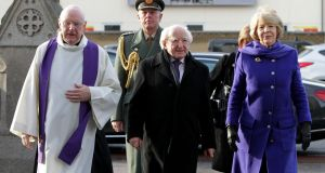 President Michael D Higgins and his wife Sabina arrive at the funeral mass of  TK Whitaker at the Church of the Sacred Heart in Donnybrook, Dublin. Photograph: Mark Stedman/PA Wire