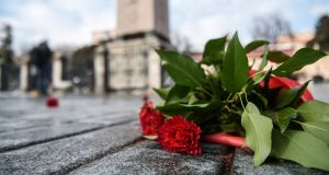 Red carnations  placed in Sultanahmet Square, Istanbul,  on January 12th, 2017, at the site where 12  Germans were killed last year in a jihadist bombing. File photograph: Ozan Kose/AFP/Getty Images