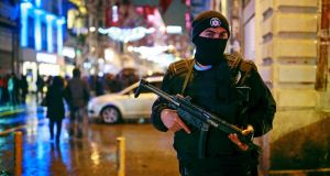 Turkish police on security detail in central Istanbul's Istiklal Avenue, the city's main shopping street, on  December 31st, 2016. File photograph: Emrah Gurel/AP Photo