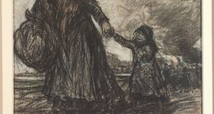 Old Woman with Little Girl, 1914 Black crayon and pastel, 36 x 42cm. Private collection; Image courtesy of Eugeen Van Mieghem Museum, Antwerp