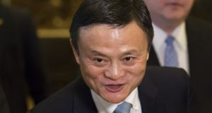 Billionaire Jack Ma, chairman of Alibaba Group Holding Ltd., speaks with members of the media in the lobby of Trump Tower in New York, U.S., on Monday, Jan. 8, 2017. A marathon of Senate confirmation hearings starting this week will give Democrats the chance to put Donald Trump's Cabinet nominees on trial even though they have little chance of actually blocking any of them. Photographer: Albin Lohr-Jones/Pool via Bloomberg Billionaire Jack Ma, chairman of Alibaba Group Holding Ltd., speaks with members of the media in the lobby of Trump Tower in New York, U.S., on Monday, Jan. 8, 2017. A marathon of Senate confirmation hearings starting this week will give Democrats the chance to put Donald Trump's Cabinet nominees on trial even though they have little chance of actually blocking any of them. Photographer: Albin Lohr-Jones/Pool via Bloomberg