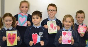 At Rush National School children made Valentine's cards for themselves in an exercise to encourage self-worth