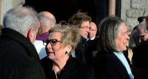 Minister for Justice Frances Fitzgerald and Chief Justice Susan Denham at the funeral of TK Whitaker. Photograph: Cyril Byrne