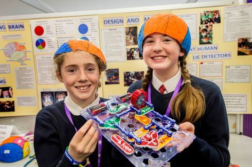 Bobbie Culleton, left age 11 and Amy McDonnell 12 from Kilraine NS. Co.Wexford photographed with their Lie Detector machine at the RDS Primary Science Fair at the RDS, part of the Young Scientist exhibition. Photograph: Brenda Fitzsimons / The Irish Times