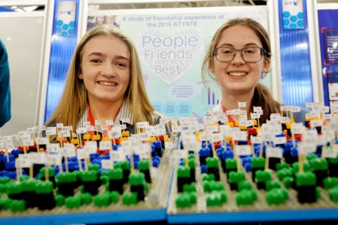 Kate Cronin and Laura Cotter from Colaiste Muire Crosshaven, Cork with their project - The Power of Proximity an analysis of frendship experiences at the BT Young Scientist and Technology Exhibition in the RDS, Dublin.   Photograph: Alan Betson / The Irish Times