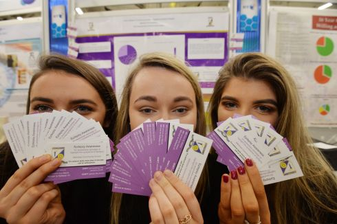 Emma Kelleher, Ciara Fitzgerald and Katie Crowley from Millstreet Community School, Cork with their project on the Symptoms of Epilepsy  at this Years BT Young Scientist & Technology Exhibition.  Photograph: Alan Betson / The Irish Times