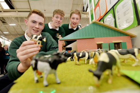 Aaron Smith, Ryan Gargan and Aaron Hawthorne from Bailiebourough Community School with their project on the Colour Red Irritating Bulls at this Years BT Young Scientist & Technology Exhibition.  Photograph: Alan Betson / The Irish Times