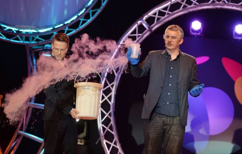 James Soper of the Ultimate Science Show performing at  the opening ceremony  at this Years BT Young Scientist & Technology Exhibition.   Photograph: Alan Betson / The Irish Times