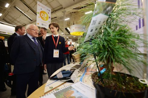 Ric Murawski from East Glendalough School spreking to President Higgins about his project the Mount Usher Navigator at this Years BT Young Scientist & Technology Exhibition.  Photograph: Alan Betson / The Irish Times