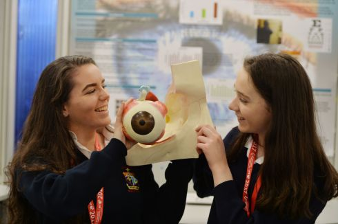 Carolyn O'Donovan and Ciara Walsh from St. Marys Secondary School Macroom with their project on I Spy with my Colored Eye.   Photograph: Alan Betson / The Irish Times