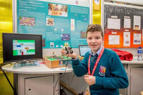 Liam O'Meara age 13 from Castletroy College Limerick photographed at the BT Young Scientist & Technology exhibition with his exibit on Intelligent Traffic Lights Sensor. Photograph: Brenda Fitzsimons / The Irish Times
