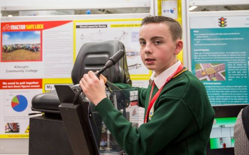 Jack Nagle age 14 Killorglin Community College Kerry  photographed at the BT Young Scientist & Technology exhibition with his Tractor Safety Lock  invention, a engages the handbrake of a tractor when the operator exits the tractor device that automatically  Photograph: Brenda Fitzsimons / The Irish Times