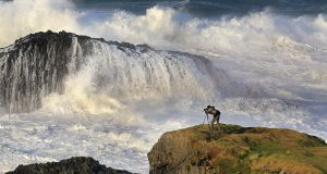 MAKE WAVES: Monster waves batter the Co Antrim coast at Ballintoy. Photograph: Margaret McLaughlin