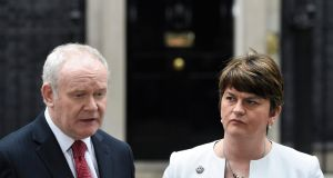 Martin McGuinness and Arlene Foster: The earliest NI secretary James Brokenshire can set a polling date is 43 days from Monday, leaving a six-week election campaign. Photograph: Facundo Arrizabalaga/EPA