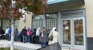 People queue in Arlington, Virginia, US, for a lottery to win free healthcare. Congressional Republicans have completed the first step  towards their long-promised repeal of the Affordable Health Care Act, known as Obamacare. File photograph: Getty Images