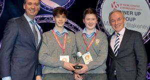 Shay Walsh, managing director BT Ireland (left) and Minister for Education Richard Bruton (right), with Matthew Blakeney and Mark McDermott of the Jesus & Mary Secondary School, Sligo, runners-up at the BT Young Scientist & Technologist of the Year 2017 with their project Flint on the Moy? Photograph: Alan Betson/The Irish Times