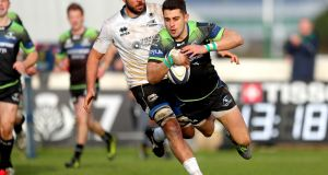 Connacht's Tiernan O'Halloran scores try number eight as his side cruised past Zebre in the Champions Cup. Photo: James Crombie/Inpho