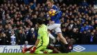 Everton's Tom Davies scores his team's third goal. Photograph: Reuters