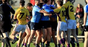 Tempers flare between Wexford and Dublin at Enniscorthy. Photograph: Inpho