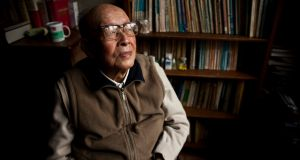 Zhou Youguang, the father of China's Pinyin writing system, at his study in Beijing,  in 2011.  Photograph: Shiho Fukada/The New York Times